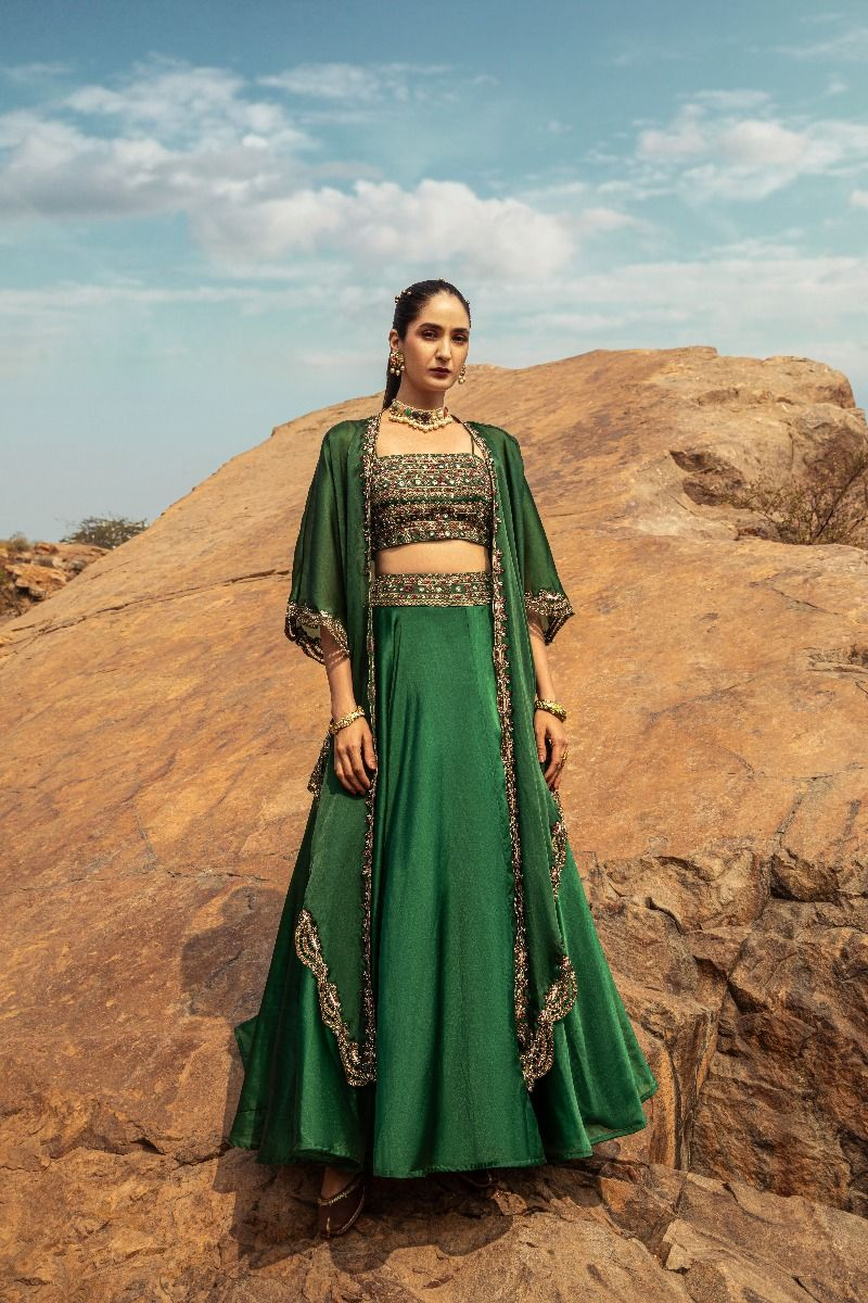 EMBROIDERED LEHENGA WITH CAPE